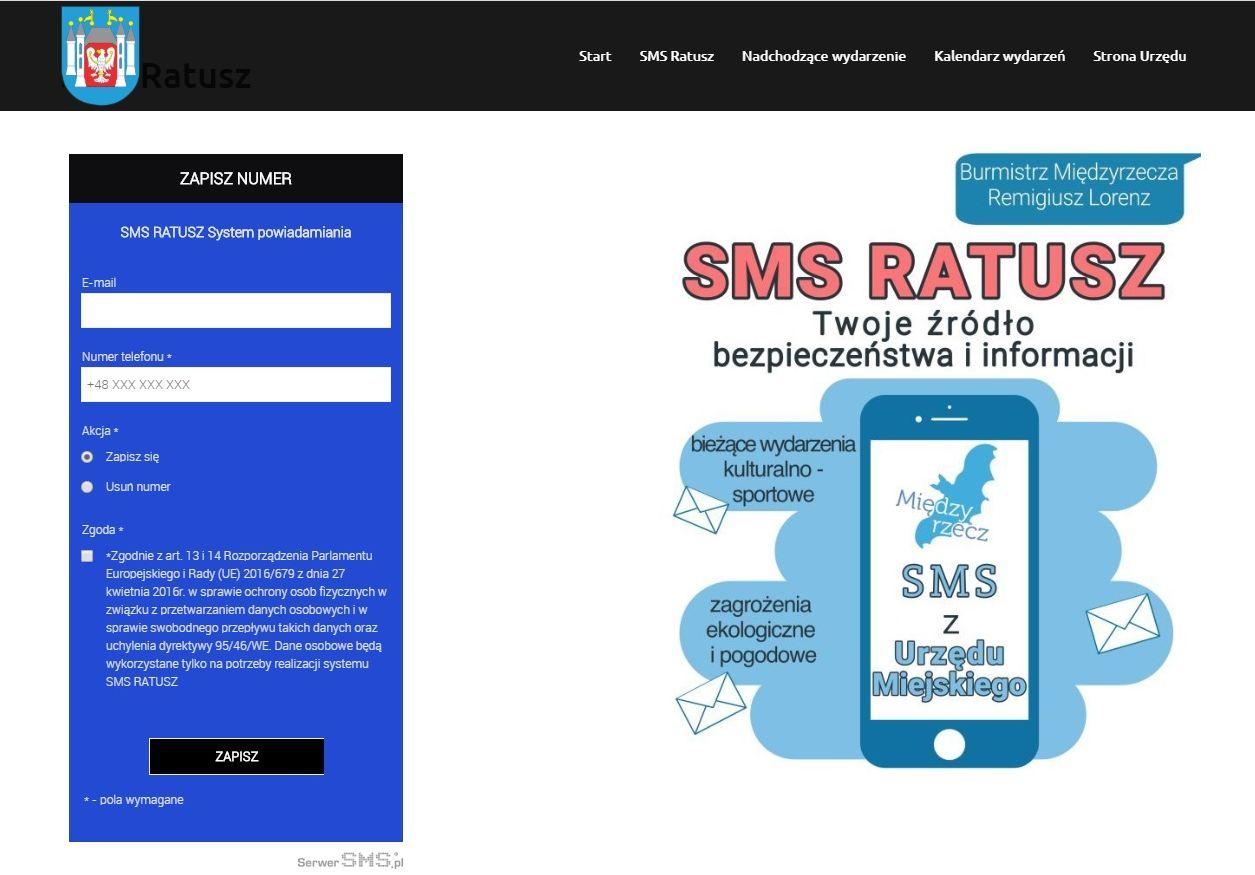 Ilustracja do informacji: Apel do Mieszkańców o rejestrowanie się w Systemie Powiadamiania SMS Ratusz