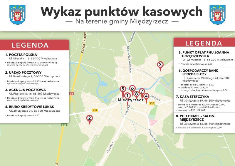 Ilustracja do informacji: Wykaz punktów kasowych w Międzyrzeczu