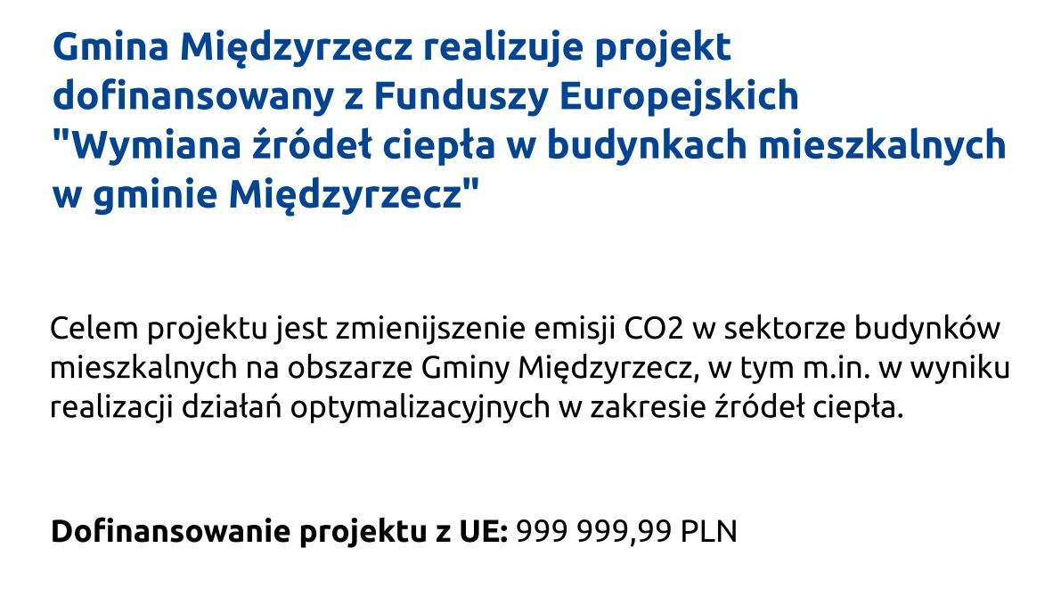 """Ilustracja do informacji: Gmina realizuje projekt """"Wymiana źródeł ciepła w budynkach mieszkalnych w gminie Międzyrzecz"""""""