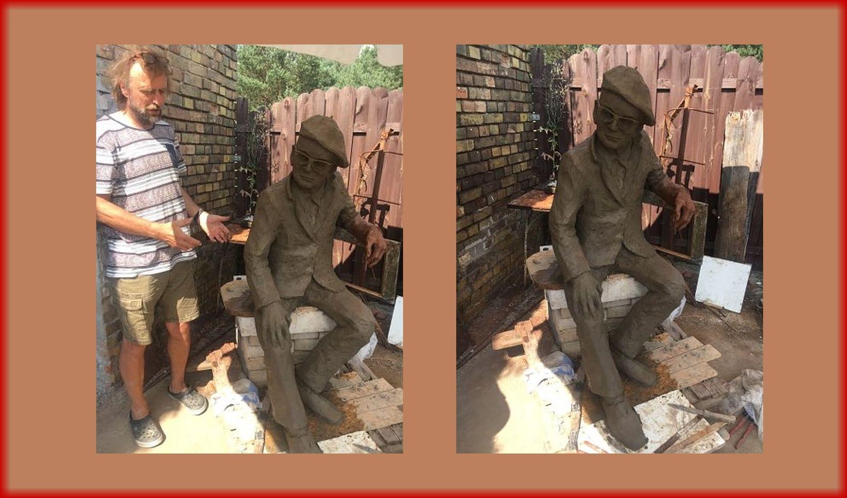 Ilustracja do informacji: Pamiętacie Alfa Kowalskiego? Będziecie mogli zrobić sobie zdjęcie na ławeczce przy jego rzeźbie!