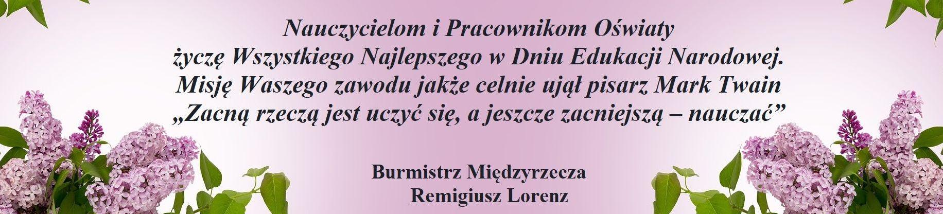 Ilustracja do informacji: Życzenia dla Nauczycieli i Pracowników Oświaty od burmistrza Remigiusza Lorenza